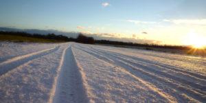 Spuren im Schnee Fahrrad Winter Streusalz
