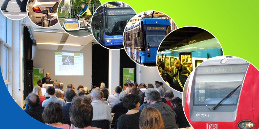 Titelbild Tagungen Mobilität Fußgänger Radfahrer Auto Bus Tram U-Bahn S-Bahn
