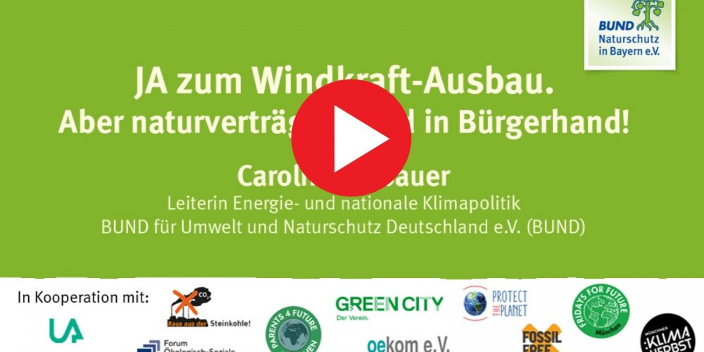 Aufgezeichneter Vortrag: Windkraft JA! Aber naturverträglich und in Bürgerhand!